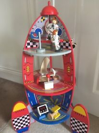 Children's wooden play rocket with all accessories