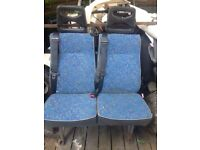 Van seats with belts fitted