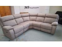 NEW Ex Furniture Village Corner Electric Recliner Bisque Fabric Sofa with USB Ports **CAN DELIVER**