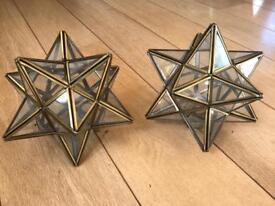 Pair of star glass pendant light