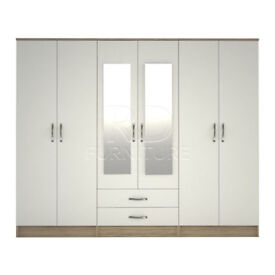 Cornwall wardrobe 4 you, 2,28m wide 6 door oak and white wardrobe