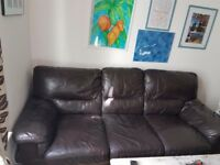 Leather 3 seater sofa bed £140ono