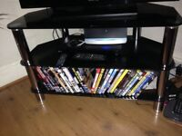 Silver/Black TV stand- with 3 shelves, good condition. Buyer collects,