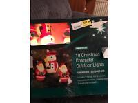 Christmas santa and snowmen lights