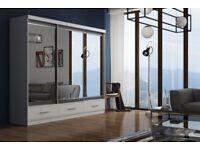 Brand New margo 120cm 2 Door Full Mirror sliding wardrobe with LED light in WHT/BLK/OAK/WALNUT