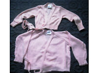 Pink crossover 'dance' cardigans, sizes 26 and 32 and glittery dance skirt.