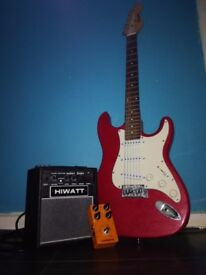 Electric Guitar. Hiwatt amp. Orangeburst Stomp Box.