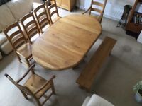 Solid oak dining table, 6 chairs and bench