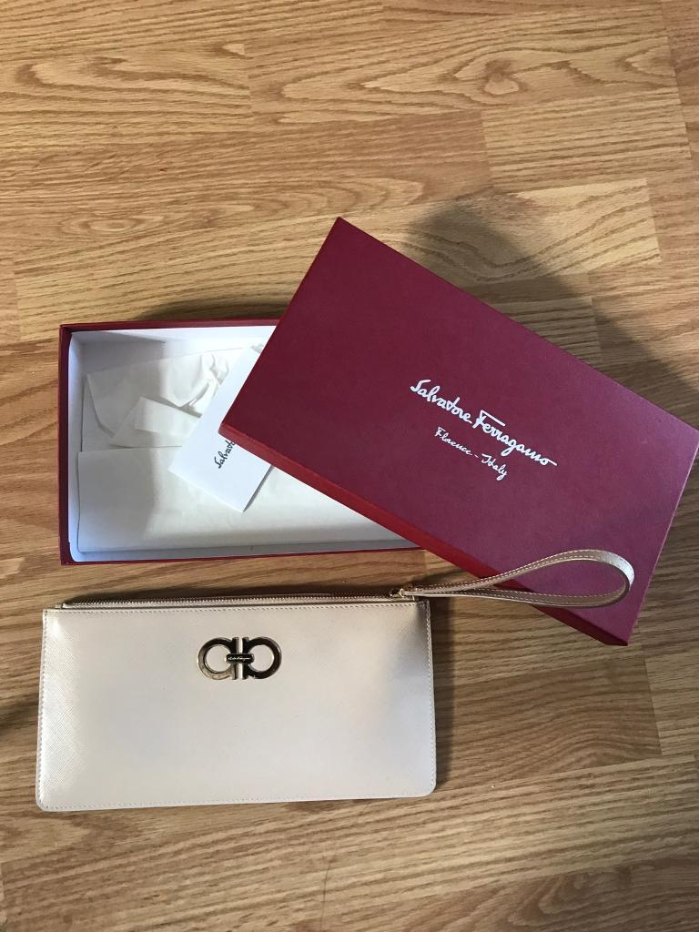 Salvatore Ferragamo Beige Clutch Purse