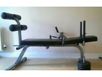 Sit up exercise bench with weights