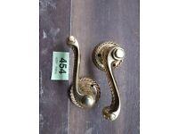 antique pair brass door handles