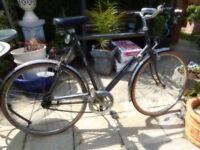 vintage mans 23 inch frame emmelle wayfare bike with lights and lock