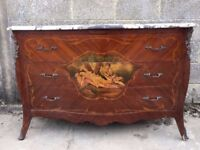 Large Antique French Bombe Chest of Drawers with Serpentine Legs
