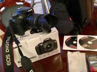 Canon Camera 1100D with tripod & acccessories.