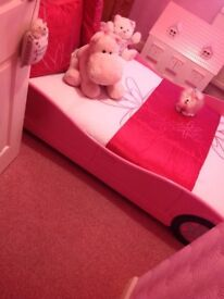 Girls Pink Car Bed with Mattress like New only used as spare at Nannies Portadown £50 07563870358
