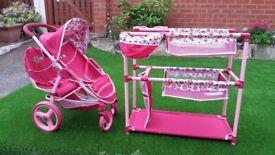 Dolls twin pushchair & bunk beds