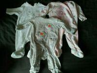 Baby girl 3-6 fleecy sleep suits