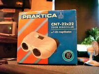 BINOCULARS BY PRACTIKA IN CASE AND WITH ORIGINAL BOX. 7-22X MAGNIFICATION. HARDLY USED