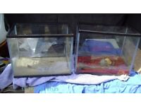 two small fish tanks