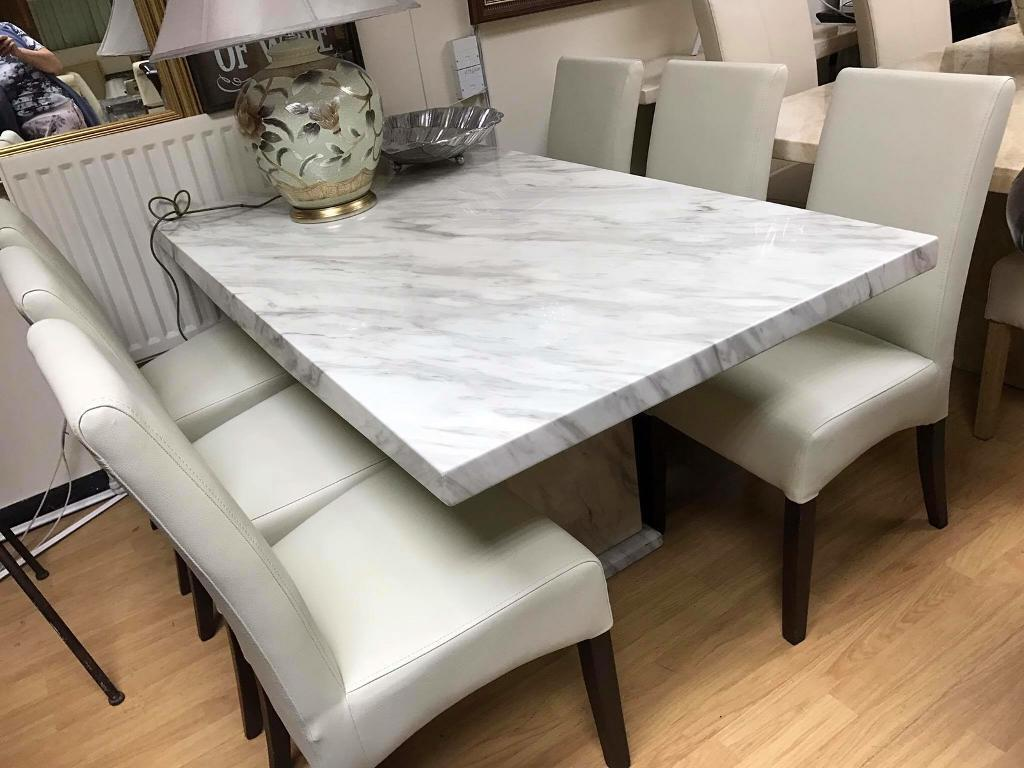Beautiful White Marble Calacatta Dining Table 6 Leather Chairs