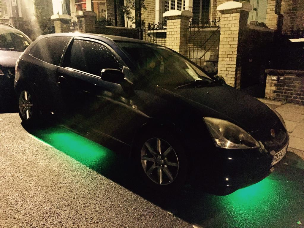 Honda Civic sport 1.6 v-tec k&n filter exhaust system carbon fibre panels  tinted neon