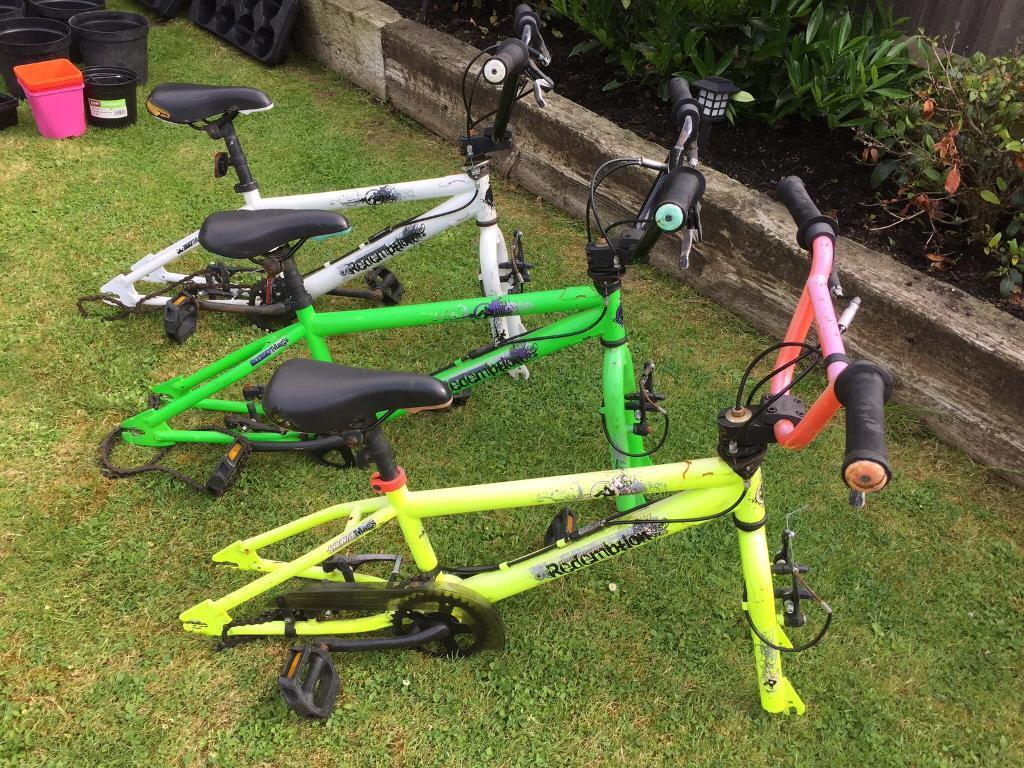 Bmx bikes. 3 kids bikesin Didcot, OxfordshireGumtree - Three bmx bike framesAll complete apart from wheelsVery used conditionSold as seenIdeal to make into cheap bikes etcSeat rippedSurface rust etc3 bike frames with no wheels £45Thanks