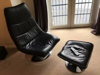 LEATHER Recliner & Footstool