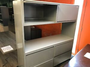 File cabinet with overhead storage