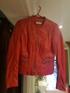 2x ladies women red leather jacket new