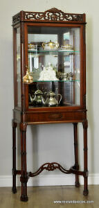 Antique French Chinoiserie Style Vitrine Display Curio Cabinet