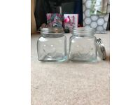 Square heart glass jars with screw top silver lids