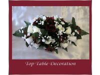 Brand New Burgundy & Ivory Rose Wedding Table Floral Decorations & Cake Topper