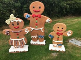 Gingerbread Boy Fibreglass Christmas Prop