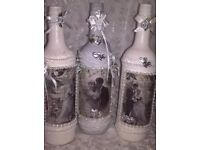 3 wine bottles, hand psinted and decorated using decoupage, vintage wedding theme, bride and groom.