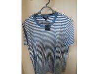 Lands End Blue/White Stripe T shirt (Brand New)