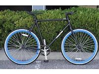 Fixed Gear Bike, Road Bicycle 58cm Black w Deep 43mm Blue rims