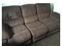 Harvey's Faux Suede Fabric Three Seater Reclining Sofa Collection Poole