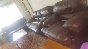 3 piece leather sofa set with table