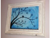 Love birds silhouette painting in shabby chic wooden frame