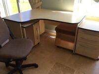 Large desk , PLUS 3 units with castors drawers shelves etc.