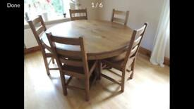 Reclaimed oak table with five chairs. Great condition.