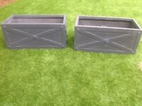 Pair of dark grey troughs