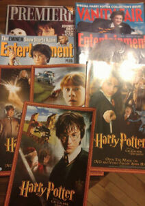 4 Harry Potter Collectible Magazines + 4 Sm. Posters