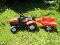 Red Toy Farm Tractor and Trailor