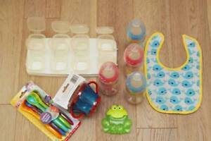 NEW Snack Cup, 6 Nuby Spoons, 4 Nuk Bottles, 6 Baby Storage Con