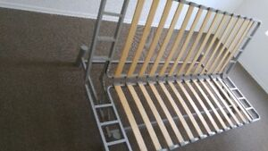 VERY COMFORTABLE SILVER FUTON OD DOUBLE SIZE BED FRAME