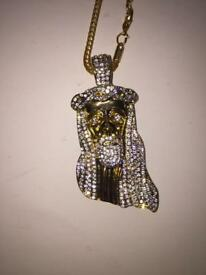 Gold plated Jesus pendant and necklace