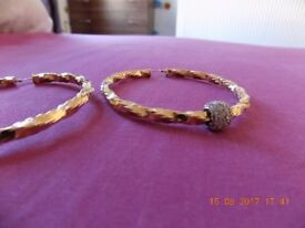 Large Twist Hoop Earrings - Stone Set Feature - 9ct Yellow Gold