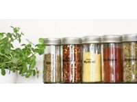Set of 5 New Chrome Coloured Lids Refillable Clear Glass Spice Herbs Jars Holders.