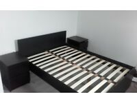 black/brown bed frame double and two bed side cabnits